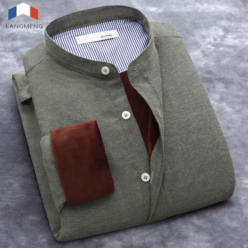 Clearance Sale Plus Size 5XL Winter Men Shirt Slim Fit Solid Color Dress Shirt Men Long Sleeve Mandarin Collar Casual Shirts