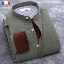 clearance sale Plus Size 5XL winter men shirt slim fit solid color dress long sleeve mandarin collar casual shirts