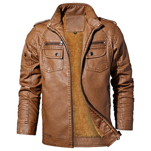 Image 2 - Winter men jacket High quality brand  casual Outerwear Pu leather jacket men Warm fleece men jacket coat brand clothing