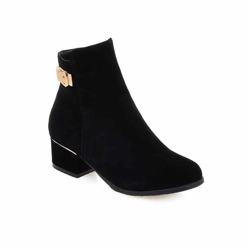 ASUMER artı boyutu 34-43 moda kadın çizmeler yuvarlak ayak nubuk kare topuklu sonbahar yarım çizmeler kadınlar için bayan ayakkabıları kadın