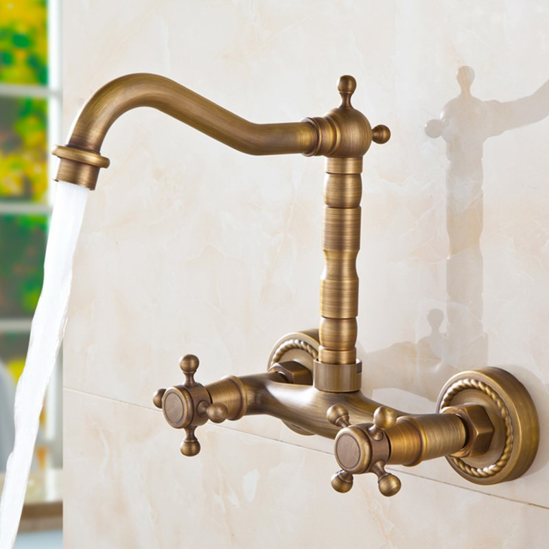 Antique Brass Kitchen Faucet Dual Cross Handles Wall Mounted Gold Hot Cold Bathroom Kitchen Basin Sink swivel Faucet Mixer Tap in Basin Faucets from Home Improvement