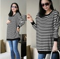Spring hot-selling loose maternity clothing long-sleeve stripe  plus size loose loose maternity t-shirt w1