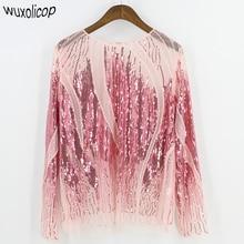 2018 Women Shirt Summer Long Sleeve Embroidery Sequin Bead Sheer Lace Mesh Blouse Camisas Mujer Sexy Body Top Blusa Feminina