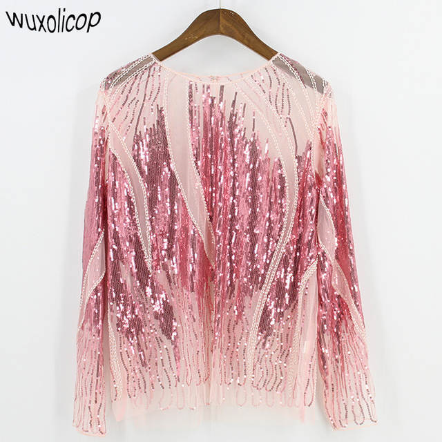 2018 Women Shirt Summer Long Sleeve Embroidery Sequin Bead Sheer Lace Mesh  Blouse Camisas Mujer Sexy 5938e90e63dd