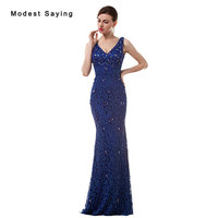 Sexy Deep V Neck Blue Mermaid Beaded Lace Cover Evening Dresses 2017 with Rhinestone Women Night Party Prom Gown robe de soiree