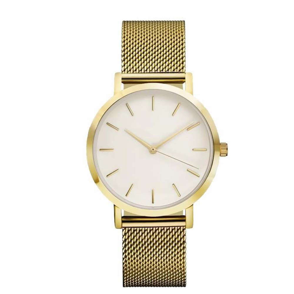 Quartz Women Watch Crystal Stainless Steel Yellow Gold