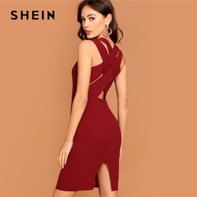 SHEIN Burgundy Plunging Neck Pencil Dress Solid Sleeveless V Neck Bodycon Dress Elegant Party Autumn Modern Lady Women Dresses