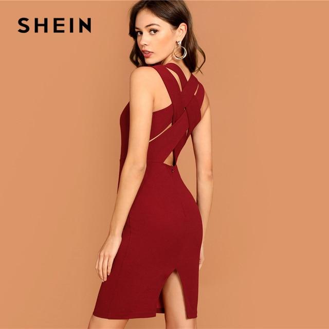 782e092422 SHEIN Burgundy Plunging Neck Pencil Dress Solid Sleeveless V Neck Bodycon  Dress Elegant Party Autumn Modern Lady Women Dresses