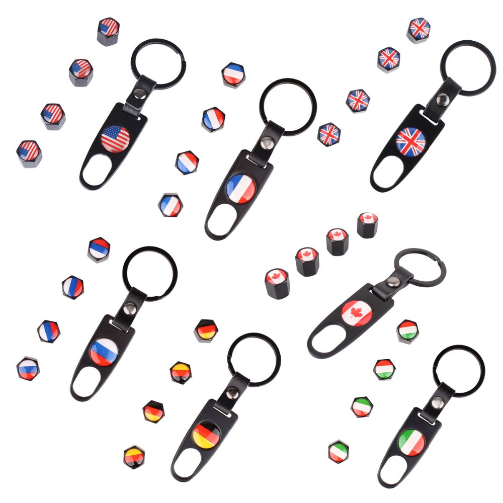Stainless Steel Wheel Tire Valve Stem Caps + Keychain with USA/UK/RU/IT/DEU/CA/FR Flag Rims Tyre Valve Dust Cover Caps