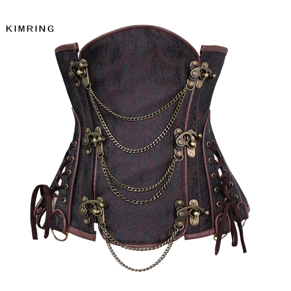 Kimring Womens Chain Steampunk Underbust Corset Retro Gothic Brocade Steel Bone Corsets and Bustiers Lingerie Plus Size Corselet