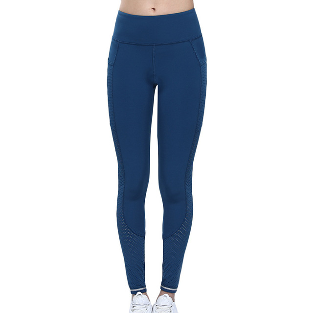 Gym Leggings with Pocket Colorvalue Breathable Mesh Running Jogger Tights Women Stretchy Sport Fitness Pants Reflective Yoga 3