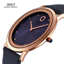 IBSO 7.6MM Ultra-Thin Women Watches 2017 Fashion Waterproof Quartz Watch Women Luxury Genuine Leather Strap Montre Femme