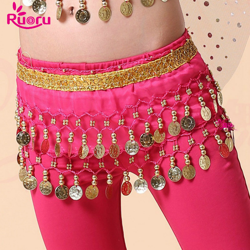 Ruoru Kids Girls Belly Dance Hip Scarf Accessories Belly Dance Belt Skirt With Gold Bellydance Coin Belt Bollywood Costumes