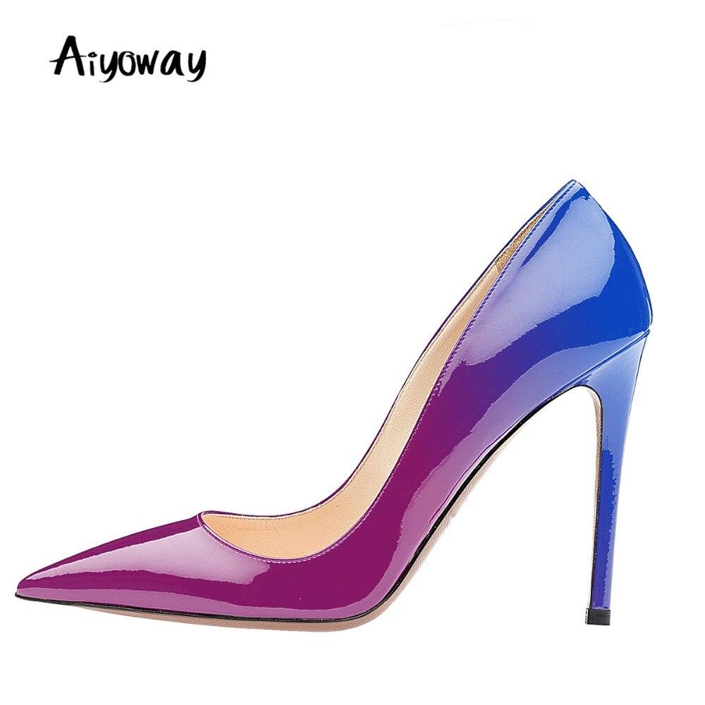 Dedo Deslizamiento De Delgada gray Zapatos Las Puntiagudo Del Fiesta Blue  Bombas Clubwear Vestido purple Tacones ... c436eca12079