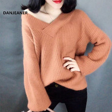 Danjeaner Lazy Wind Sweaters Women Sexy Off Shoulder V neck Moisture Knitted Pullovers Solid Slim Fit Streetwear Knitting Jumper