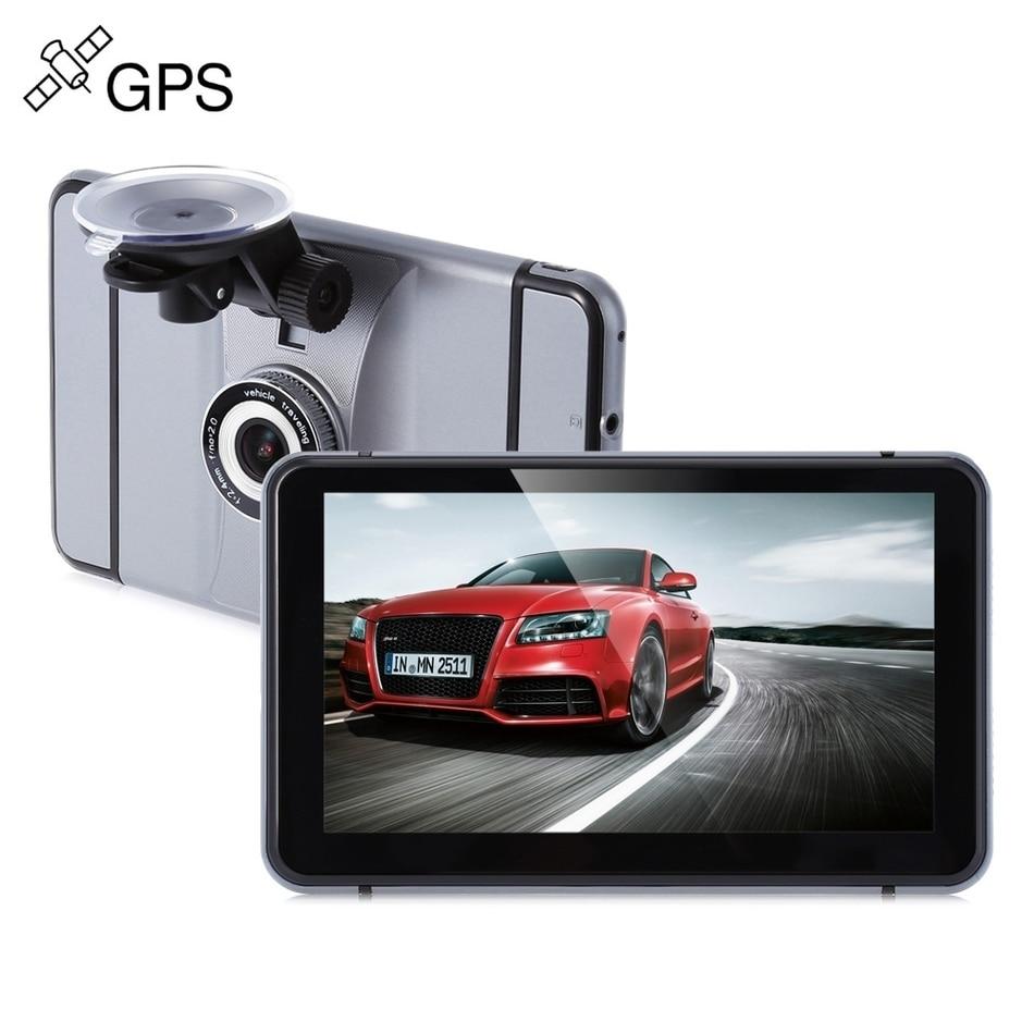 Android Автомобильный видеорегистратор 7-дюймовый 1080p 140 градусов GPS навигация 512 МБ оперативной памяти + 8 Гб ROM WiFi и FM Поддержка автомобиль детектор камера DVR