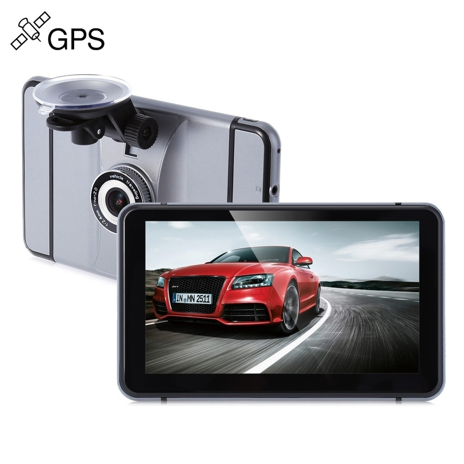 Android Car Dash Cam 7 Inch 1080P 140 Degree GPS Navigation 512MB RAM + 8GB ROM Wifi FM Support Vehicle Detector Camera DVR