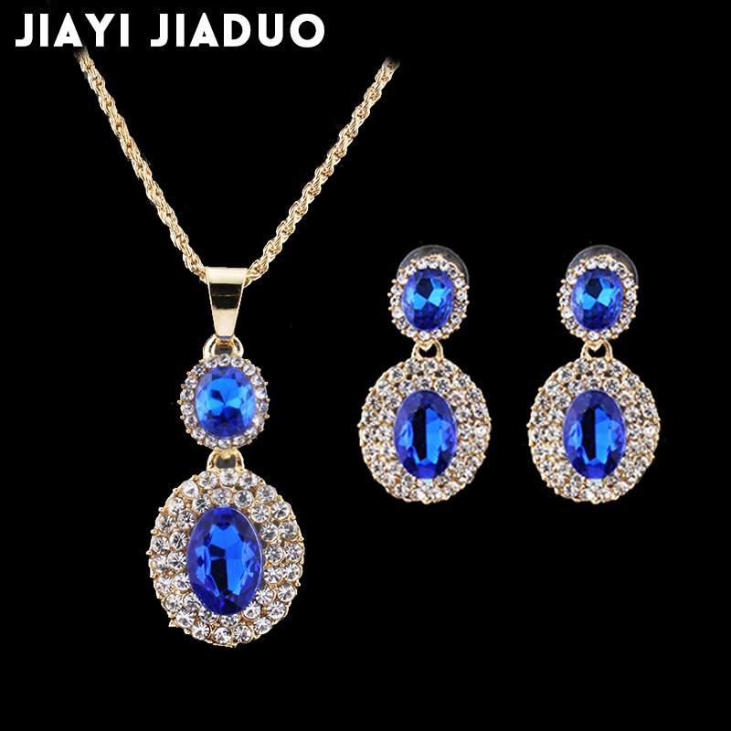 jiayijiaduo African female wedding jewelry set for women Gold color Black Crystal Necklace Pendant set Earrings accessories
