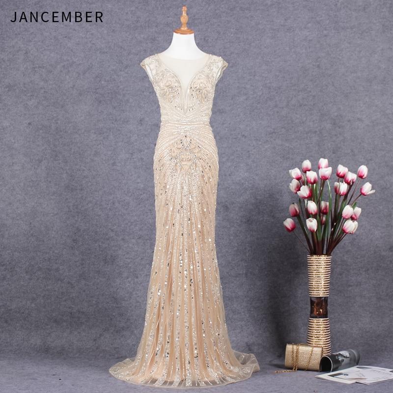 JANCEMBER luxe vestido de festa longo perles cristal motif sans manches Illusion o-cou Court Train sirène nouvelle robe de gala