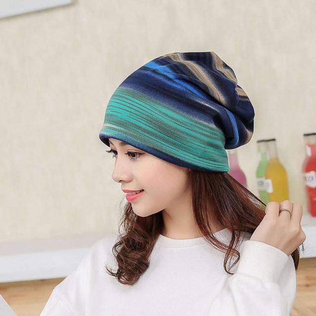 Fashion Womens Striped Hat Rich Color Ruffle Cancer Hat Beanie Scarf Collar  Turban Head Wrap Cap 5002a820c8aa