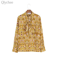 Qlychee Spring Floral Printed Chiffon Blouse Deep V Neck Halter Neck Lady Shirt Long Sleeve Loose