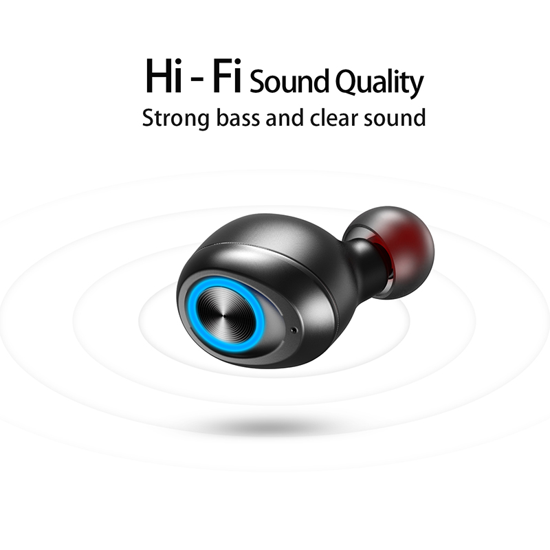 Foto of hifi sound Anomoibuds earphones with charging box. Anomoibuds headphones with charging box