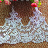 Wedding   Lace   Fabric Appliqued Bridal   Lace   Border Trims 3D Flower Sequined Embroidered Scallop Sewing Apparel Accessories