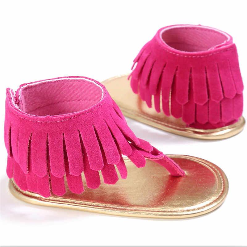 ใหม่แฟชั่นทารกแรกเกิดพู่ทารกเด็กวัยหัดเดินฤดูร้อนพู่ Anti Slip รองเท้าแตะนุ่มรองเท้า Prewalker 0-18 M