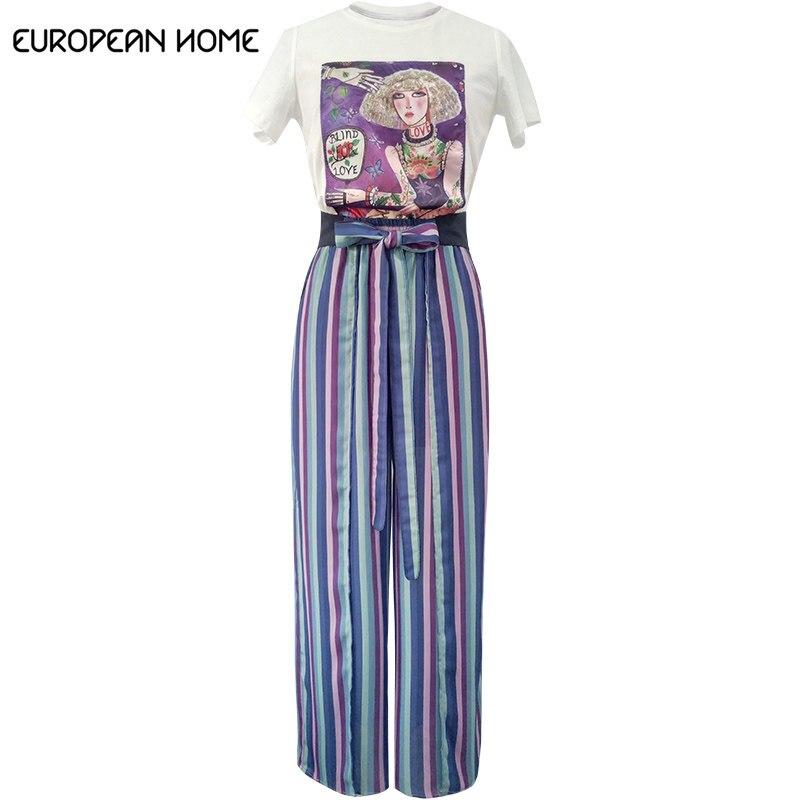 European Home 2019 nouveau été 2 pièces femmes ensemble mode à manches courtes o-cou t-shirts hauts pantalons à jambes larges grande taille femmes ensembles