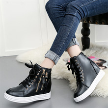 Womens High Top Sneakers Wedge Shoes For Women Zapatillas Chunky Mujer Lace-up Platform Walking White with Heel