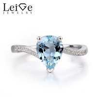 Leige Jewelry Natural Aquamarine Ring Pear Cut Wedding Engagement Rings for Women 925 Sterling Silver Blue Gemstone Jewelry