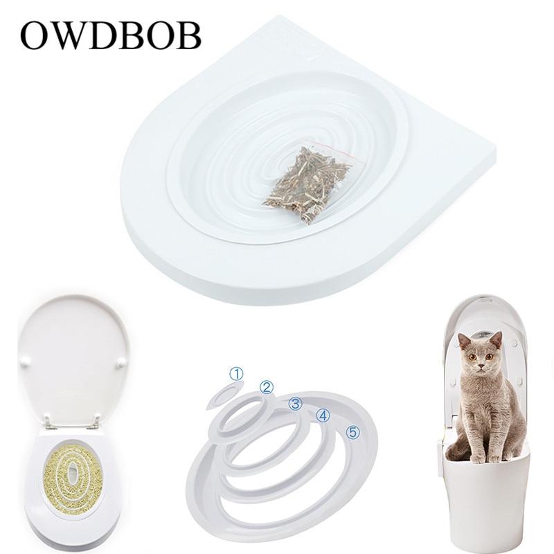 OWDBOB Pet Cat Toilet Training Kit Sitz Katzenstreu Reinigung Trays Pet Kitty Töpfchen Zug System Ausbildung Wc Tablett Pet liefert