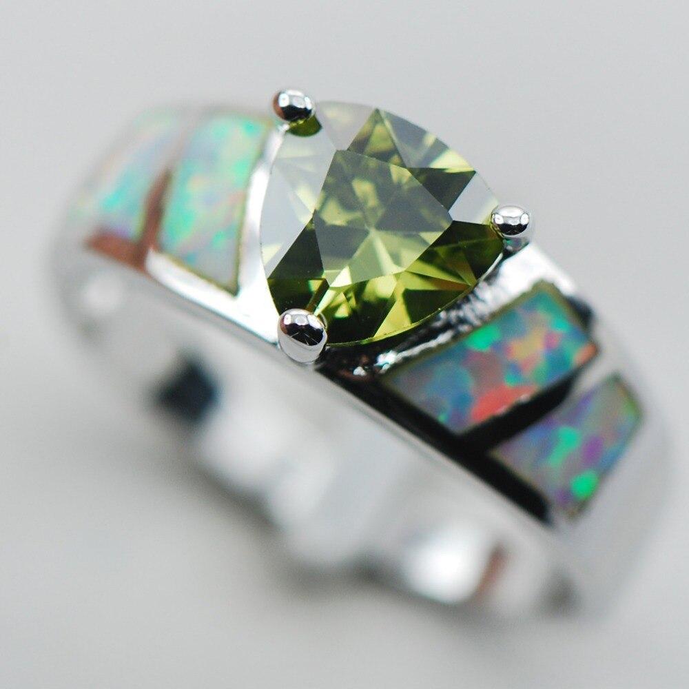 Peridot White Opal 925 Sterling Silver Ring Size 6 7 8 9 10 R1303