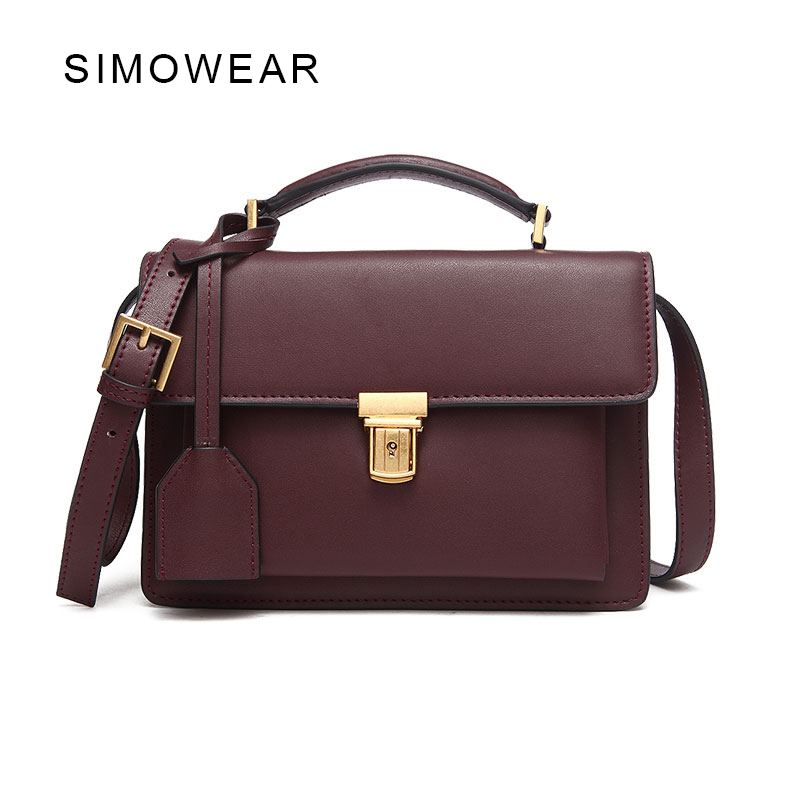 SIMOWEAR 2017 Hot Sale Brand Design Women Bag Genuine Cowskin Leather High School Chain Shoulder Bag Retro Messenger Bag Handbag