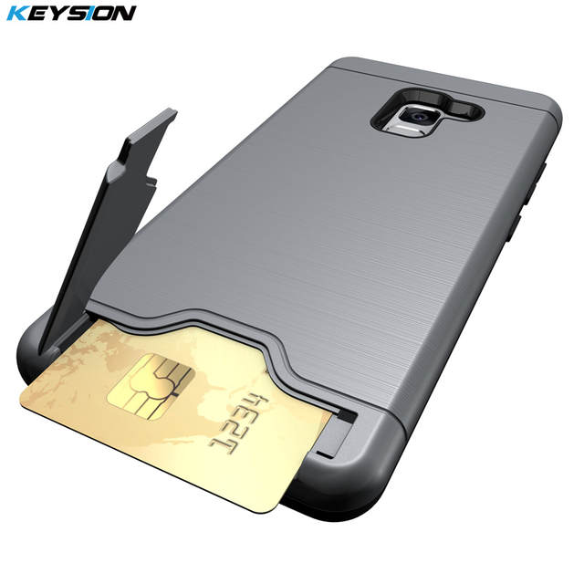 official photos ff5e0 4d6d4 KEYSION Case for Samsung Galaxy A8+(2018) Anti-knock PC+TPU Silicon Back  Cover for A8 Plus 2018 A730F With card slot Kickstand