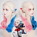 Cosplay wig Film Movie Suicide Squad Harley Quinn Cosplay Costume Wig Batman Clown Curly Gradient Wigs Heat Resistant Fibre