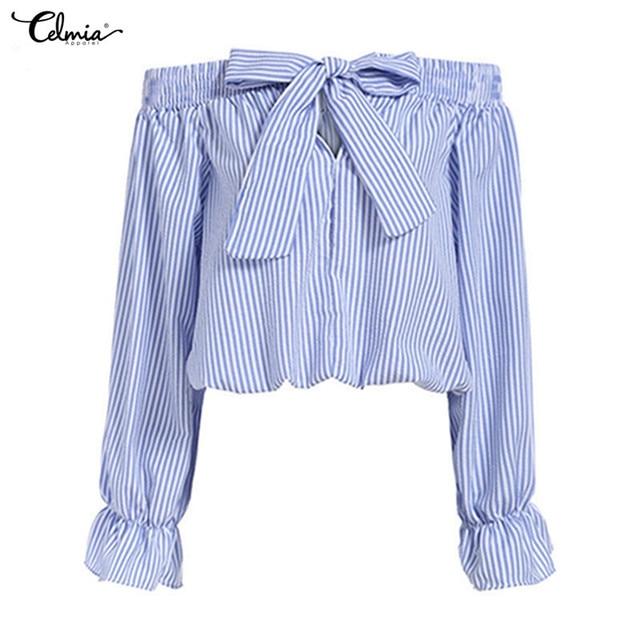 819c3b8368ea8 S-3XL Sexy Off Shoulder Shirts Women Striped Blouses 2018 Summer Bow Slash  Neck 3