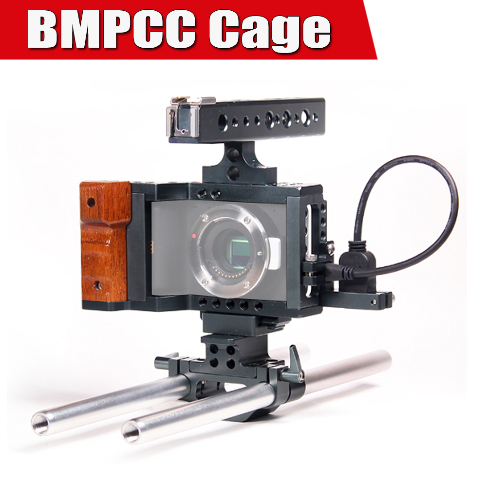 Blackmagic BMPCC Cage DSLR Camera Rig with Top Handle Hand Grip Video System for Black Magic Pocket Camera P0016911 dslr rig double hand handgrip shoulder
