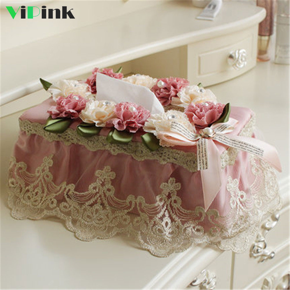 European Style Lace Tissue Box For Home Wedding Table Decoration Floral Napkin Tissue Holder For Car Roll Paper Tissue Case Gift Салфетницы