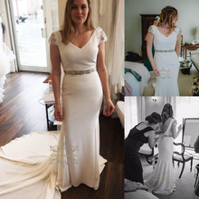 V-Neck Short Sleeves Chiffon Simple Wedding Dresses Sexy Backless Long Bridal Dress White Bridal Party Gowns with Crystals Sash hdy haoduoyi west style simple v neck asymmetrical hem chiffon micro perspective sexy maxi party dress women dresses