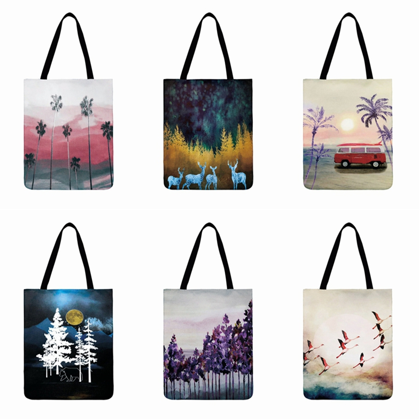 Cold Landscape Scene Printed  Tote Bag For Women Linen Fabric Bag  Casual Foldable Shopping Bag Outdoor Beach Bag Daily Hand Bag
