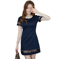 Fashion Women Mesh Pachwork O-Neck Dress Elegant Summer Dress 1