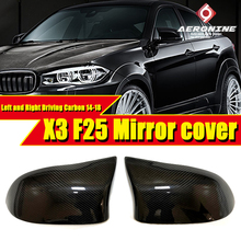 Replacement F25 Mirror Cover Left and Right Driving Carbon Fiber Black Fit For BMW X series F25 Side Door Mirror Wing 2014-2018 все цены