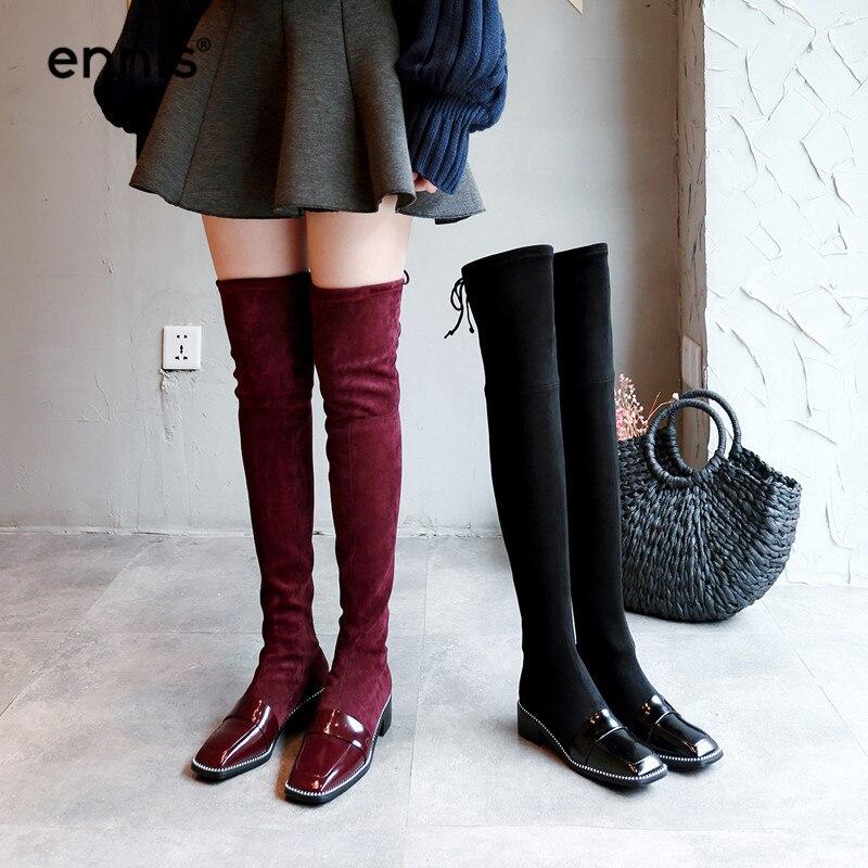 In L870 Zapatos De Gamuza Cuadrada Con Botas Negro Plush La In Mujer Remaches Moda black Rodilla Sobre Punta wine Hasta Black Elásticas 2018 Invierno Ennis wine atwq8Ug8
