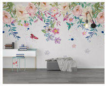 beibehang Modern nordic wall papers home decor minimalist small fresh green leaves floral watercolor style background wallpaper
