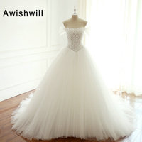 Gorgeous Tulle Ball Gown Wedding Dresses Cap Sleeves Long Train Beadings Bridal Gowns Lace up Back Vestido De Noiva Princesa