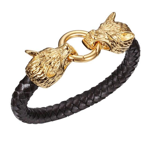 Punk Rock 18k Gold Plated Stainless Steel Wolf Bracelet Braided Genuine Leather Bracelets For Men Friendship