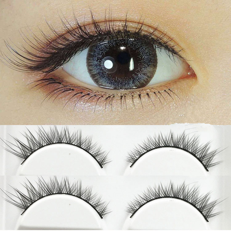 YOKPN Tapered False Eyelash Eye Tail Elongated Eye Lashes Natural Short Fake Eyelashes 100% Handmade Cotton Stalk Thick Eyelash