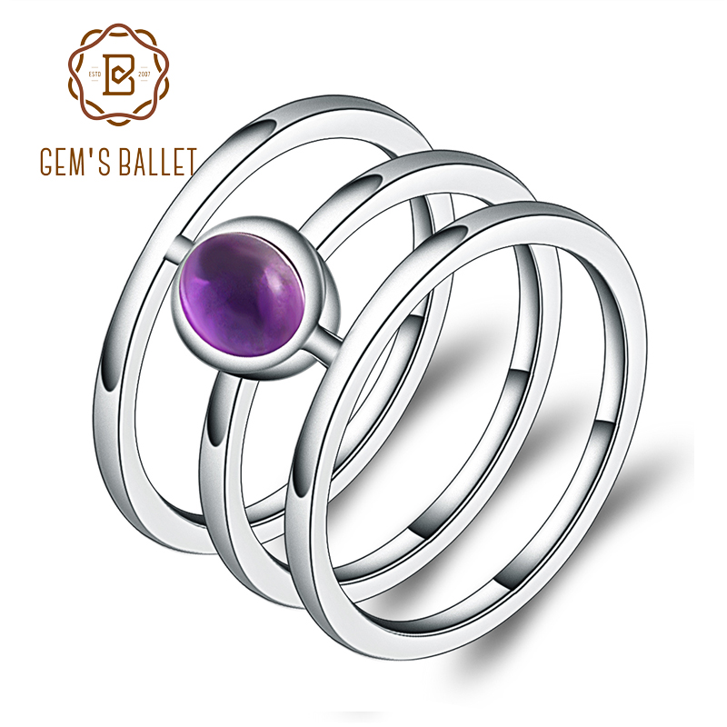 GEM'S BALLET Classic 0.81ct Round Natural Amethyst Gemstone Finger Ring For Women Party 925 Sterling Silver Fashion Fine Jewelry