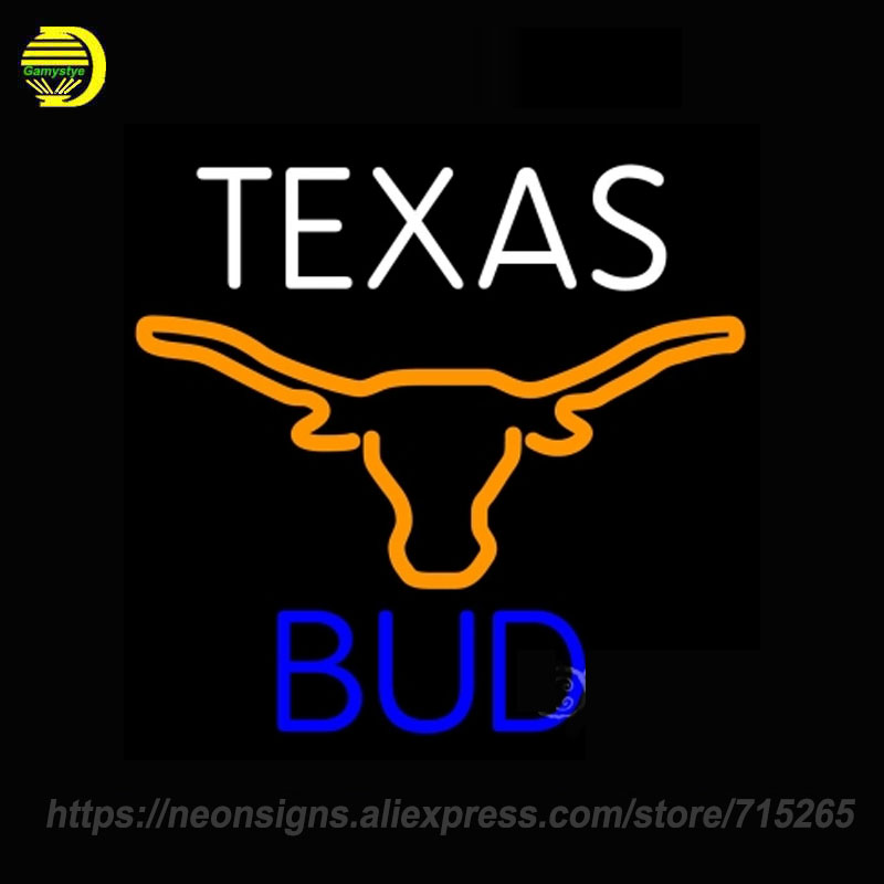 NEON SIGNS For Bud Texas Blue Saffron Longhorn Handmade Glass tube Custom Decorate Wall Bar Store Display Art Neon Lamps Affiche
